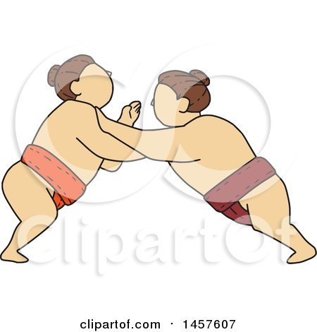 Clipart of a Mono Line Styled Match Between Sumo Wrestlers Pushing - Royalty Free Vector Illustration by patrimonio
