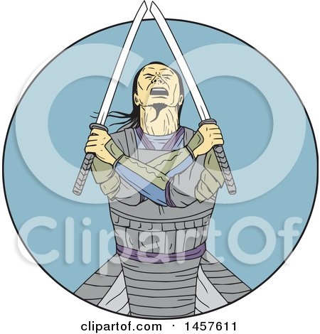 Clipart of a Drawing Styled Samurai Warror with Crossed Arms and Swords in a Blue Circle - Royalty Free Vector Illustration by patrimonio