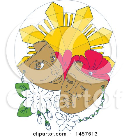 Clipart of a Mono Line Styled Phillipine Sun, Hibiscus and Jasmine Flowers with Theater Masks - Royalty Free Vector Illustration by patrimonio