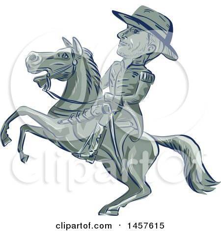 Clipart of a Cartoon Sketched American Cavalry Officer on Horseback - Royalty Free Vector Illustration by patrimonio