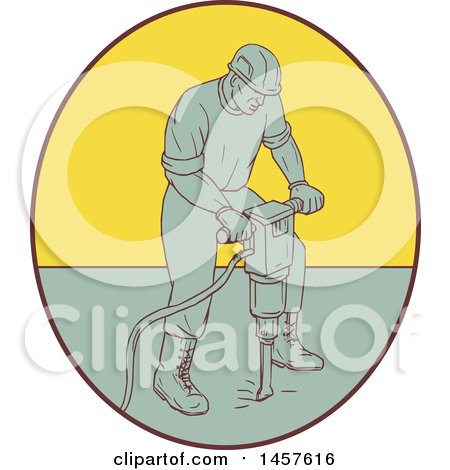 Clipart of a Drawing Styled Construction Worker Operating a Jackhammer Drill in an Oval - Royalty Free Vector Illustration by patrimonio