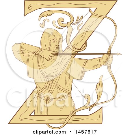 Clipart of a Drawing Styled Medieval Archer Aiming an Arrow over a Letter Z - Royalty Free Vector Illustration by patrimonio
