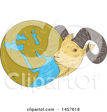 Clipart of a Sketched Drawing Styled Globe of the Middle East with a Goat - Royalty Free Vector Illustration by patrimonio