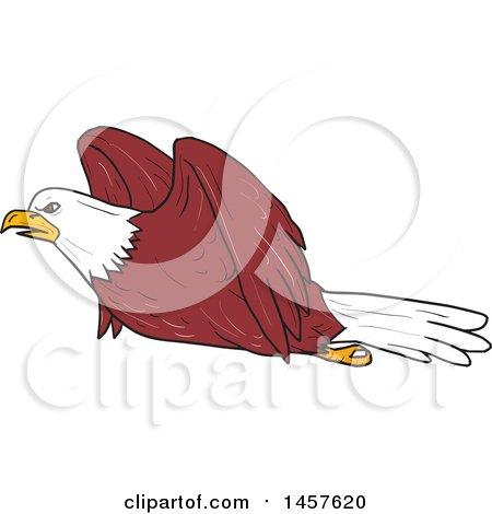 Clipart of a Cartoon Bald Eagle in Flight - Royalty Free Vector Illustration by patrimonio