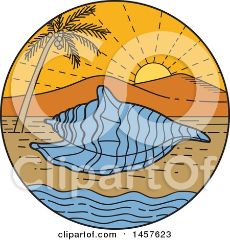 Clipart of a Mono Line Styled Conch Sea Shell on a Tropical Beach, in a Circle with a Sunset - Royalty Free Vector Illustration by patrimonio