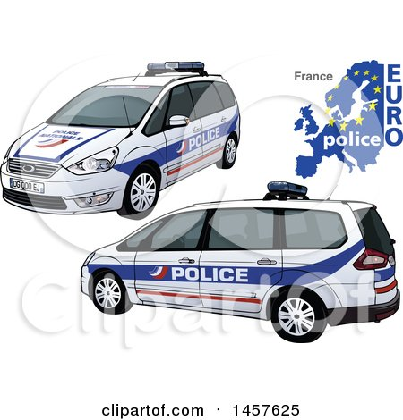 Clipart Of A French Police Car Shown From Two Different Angles With