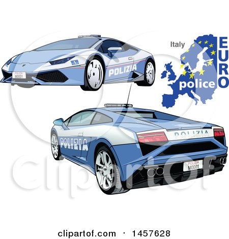 Clipart of an Italian Police Car Shown from Two Different Angles, with a Map and Euro Police Text - Royalty Free Vector Illustration by dero