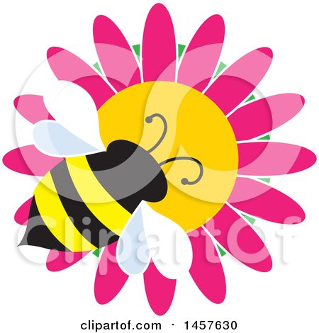 Clipart of a Bumble Bee on a Pink Daisy Flower - Royalty Free Vector Illustration by Maria Bell
