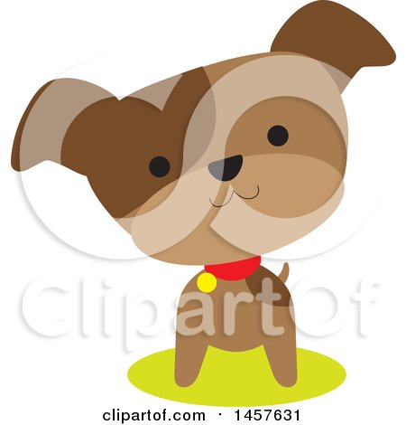 Clipart of a Cute Brown Pupppy Dog with His Head Cocked - Royalty Free Vector Illustration by Maria Bell