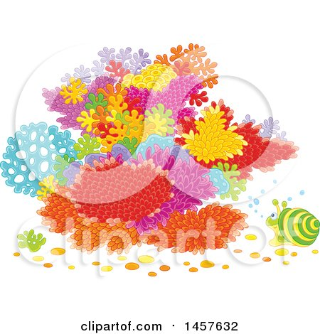 Clipart of a Snail at a Colorful Coral Reef - Royalty Free Vector Illustration by Alex Bannykh