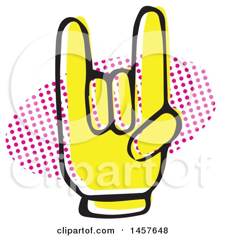 Clipart of a Pop Art Styled Yellow Rock on Hand over a Halftone Oval - Royalty Free Vector Illustration by Cherie Reve