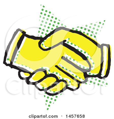 Pop Art Styled Yellow Hand Shake over a Halftone Star Posters, Art Prints