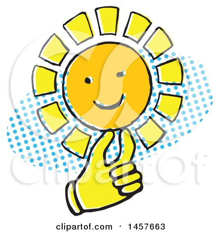 Clipart of a Pop Art Styled Yellow Hand Holding a Sun over a Halftone Oval - Royalty Free Vector Illustration by Cherie Reve