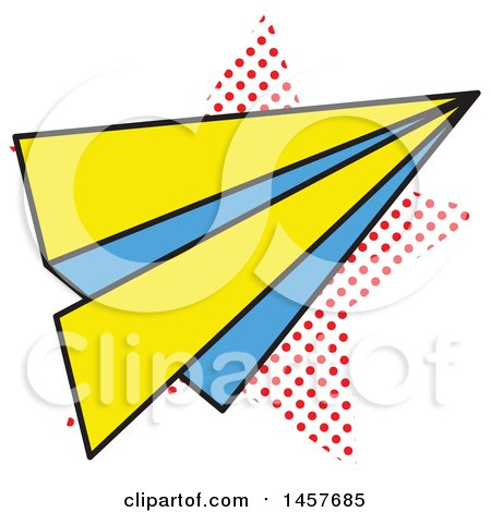 Clipart of a Pop Art Paper Plane over a Halftone Star - Royalty Free Vector Illustration by Cherie Reve