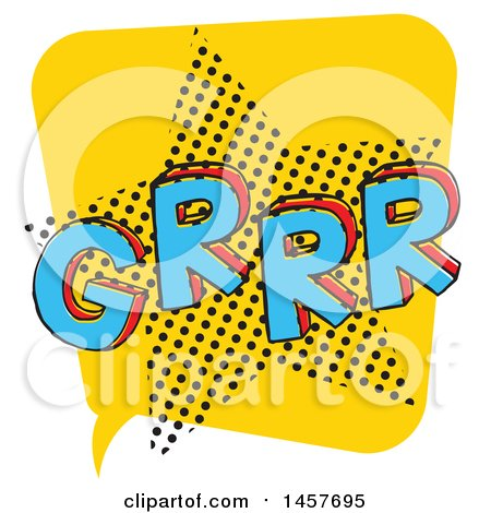 Clipart of a Comic Styled Pop Art Grrr Word Bubble - Royalty Free Vector Illustration by Cherie Reve