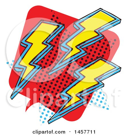 Clipart of a Comic Styled Pop Art Lightning Word Bubble - Royalty Free Vector Illustration by Cherie Reve