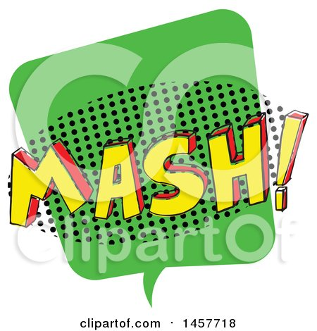 Clipart of a Comic Styled Pop Art Mash Sound Bubble - Royalty Free Vector Illustration by Cherie Reve