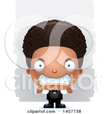 Clipart of a 3d Mad Black Boy Waiter over Strokes - Royalty Free Vector Illustration by Cory Thoman