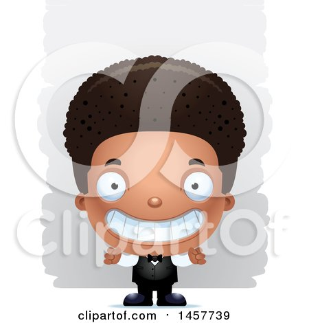 Clipart of a 3d Grinning Black Boy Waiter over Strokes - Royalty Free Vector Illustration by Cory Thoman