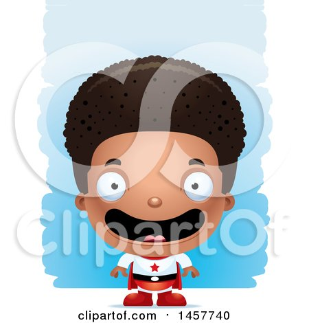 Clipart of a 3d Happy Black Boy Super Hero over Strokes - Royalty Free Vector Illustration by Cory Thoman