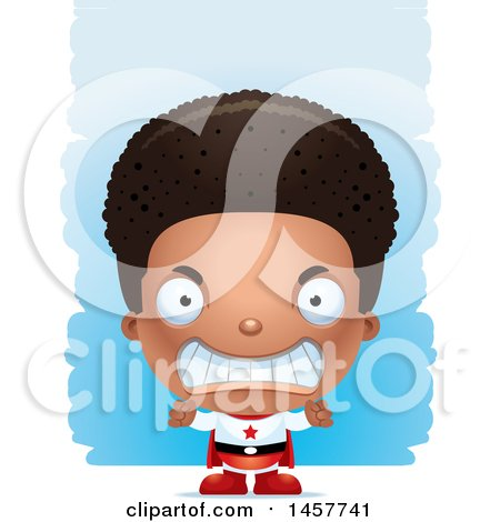 Clipart of a 3d Mad Black Boy Super Hero over Strokes - Royalty Free Vector Illustration by Cory Thoman