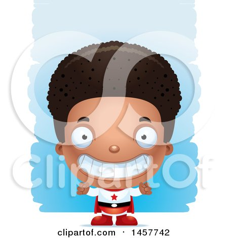 Clipart of a 3d Grinning Black Boy Super Hero over Strokes - Royalty Free Vector Illustration by Cory Thoman