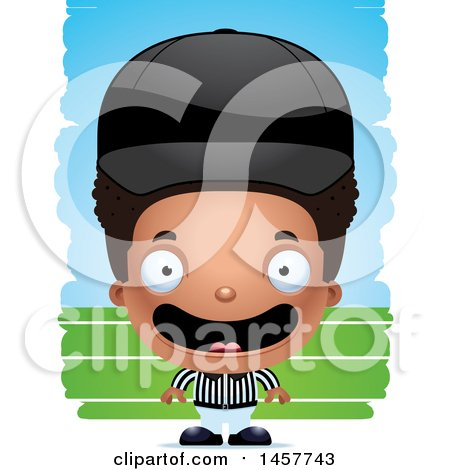 Clipart of a 3d Happy Black Boy Referee over Strokes - Royalty Free Vector Illustration by Cory Thoman