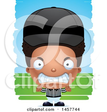 Clipart of a 3d Mad Black Boy Referee over Strokes - Royalty Free Vector Illustration by Cory Thoman