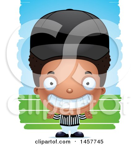 Clipart of a 3d Grinning Black Boy Referee over Strokes - Royalty Free Vector Illustration by Cory Thoman