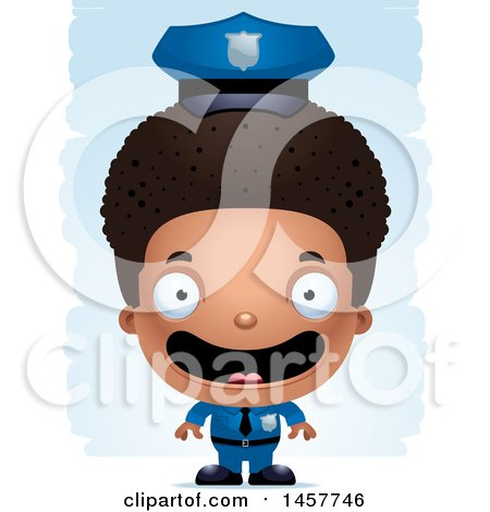 Clipart of a 3d Happy Black Boy Police Officer over Strokes - Royalty Free Vector Illustration by Cory Thoman