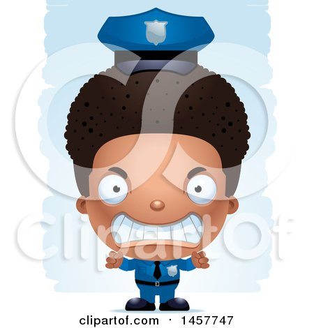 Clipart of a 3d Mad Black Boy Police Officer over Strokes - Royalty Free Vector Illustration by Cory Thoman