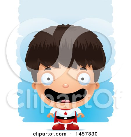 Clipart of a 3d Happy Hispanic Boy Super Hero over Strokes - Royalty Free Vector Illustration by Cory Thoman