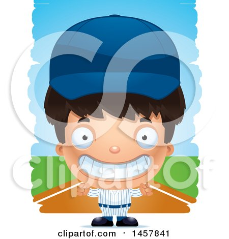 Clipart of a 3d Grinning Hispanic Boy Baseball Player over Strokes - Royalty Free Vector Illustration by Cory Thoman
