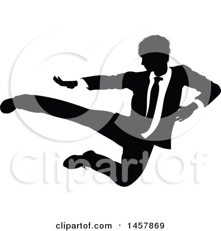 Clipart of a Black and White Silhouetted Business Man Kicking - Royalty Free Vector Illustration by AtStockIllustration