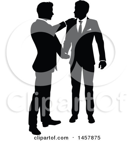 Black and White Silhouetted Business Men Shaking Hands Posters, Art Prints