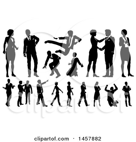 Clipart of Black and White Silhouetted Business People - Royalty Free Vector Illustration by AtStockIllustration