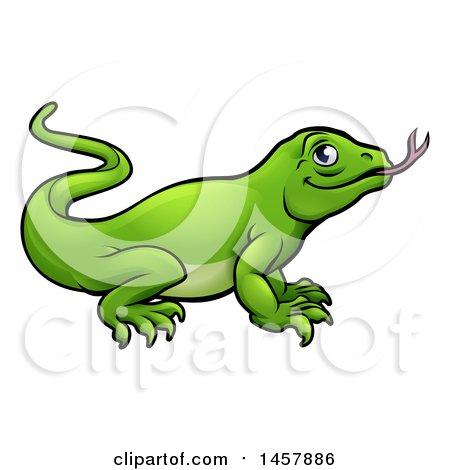 Clipart of a Cartoon Green Komodo Dragon Lizard - Royalty Free Vector Illustration by AtStockIllustration
