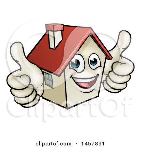 clipart of a cartoon happy white home mascot character giving two rh clipartof com two thumbs up clipart free