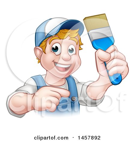 Cartoon Happy White Male Painter Holding up a Brush and Pointing Posters, Art Prints
