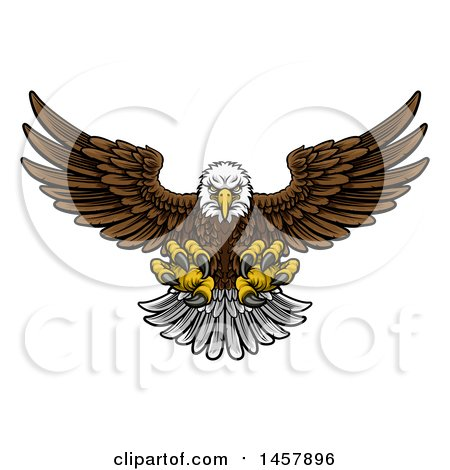 Clipart of a Cartoon Swooping American Bald Eagle with Talons Extended, Flying Forward - Royalty Free Vector Illustration by AtStockIllustration