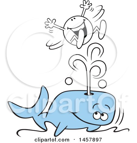 Clipart of a Cartoon Moodie Character Riding a Splash from a Whale Blowhole - Royalty Free Vector Illustration by Johnny Sajem