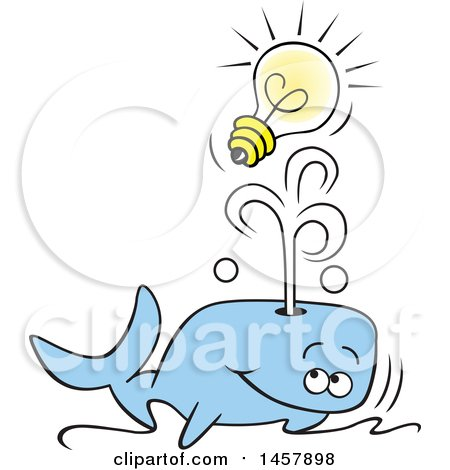 Clipart of a Cartoon Whale Spouting an Idea out of His Blowhole - Royalty Free Vector Illustration by Johnny Sajem