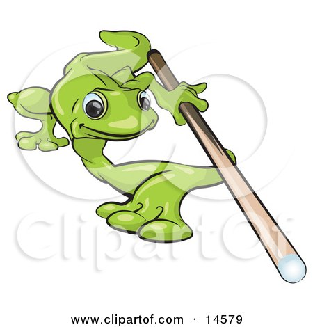 Green Gecko Leaning Over Really Far To Aim While Shooting A Game Of Pool Billiards Clipart Illustration by Leo Blanchette