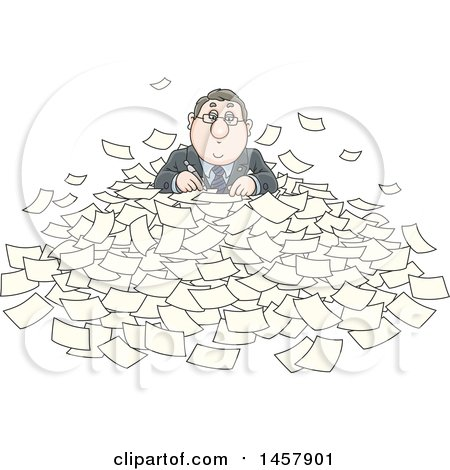 Clipart of a Cartoon White Businessman Buried in Paperwork - Royalty Free Vector Illustration by Alex Bannykh