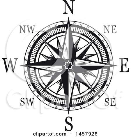 Clipart of a Black and White Compass Rose - Royalty Free ...