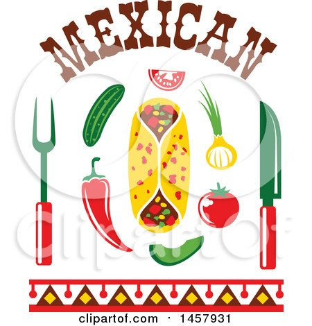 Clipart of a Mexican Cuisine Design with Chili Peppers, a Burrito, Cutlery, Veggies and Text - Royalty Free Vector Illustration by Vector Tradition SM