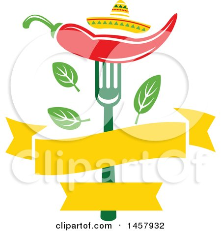 Mexican Cuisine Design with a Chili Pepper on a Fork, Sombrero Hat ...