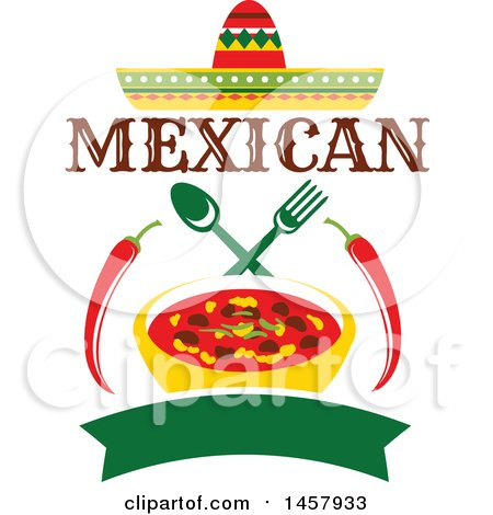 Clipart of a Mexican Cuisine Design with a Sombrero, Chiles, Bown of Chili, Silverware and Banner - Royalty Free Vector Illustration by Vector Tradition SM