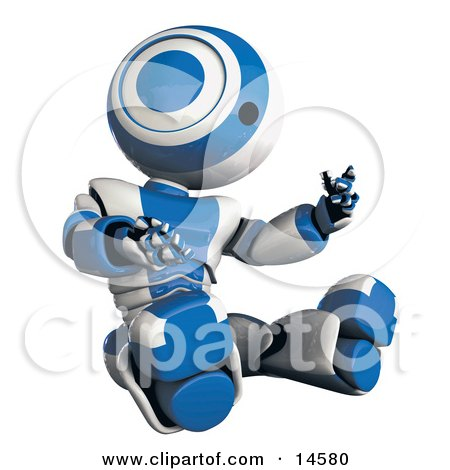 Blue And White Robot Sitting And Looking At His Own Hands In Amazement Glossy Robot Inspecting Himself Clipart Illustration