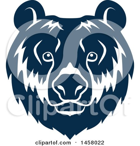 Clipart of a Blue Bear Mascot Face - Royalty Free Vector Illustration by Vector Tradition SM